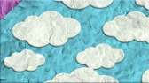 cartoon background : Cloudy Sky Made Of Clay In Stop Motion