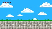 oyun alanı : Clouds and Green Hills in Retro Video Game Style
