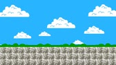 oyun alanı : Old Arcade Game Level 8-Bit Graphics Screen Moving Forwards Stok Video