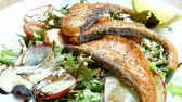 green onion : Salmon salad with fresh vegetable
