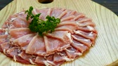 ломтики : Close up raw pork meat Стоковые видеозаписи
