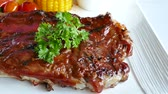 свинина : Grilled BBQ pork rib steak with sauce