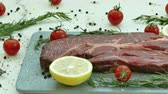 wood grill : Fresh raw beef meat