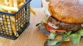 beef burger : Beef Burger with french fries
