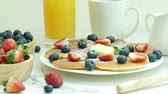 mirtilos : Variety breakfast foods Stock Footage