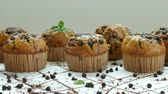 cake chocolate : Muffins banana chocolate chip Stock Footage