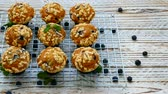 ele almak : Muffins with Blueberry Stok Video
