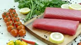 flank : Raw tuna fillet with dill