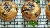 pastel : Muffins de plátano con chispas de chocolate Archivo de Video