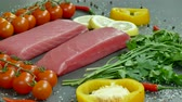 dill : Raw tuna fillet with dill