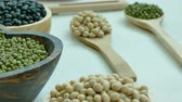 kidney beans : Assorted of Beans, Red bean, Soy bean, Mung bean, Black Bean Stock Footage