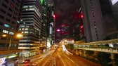 semaforo : 4K Time lapse of Hong Kong central and city traffic Filmati Stock