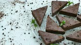 fatias : Chocolate brownie cake Stock Footage
