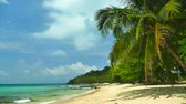palmeiras : Nature with tropical sea and beach on white cloud and blue sky