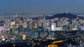 4K Time lapse Building of Seoul skyline with Seoul tower in South Korea