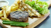 wood grill : Grilled beef steak Stock Footage
