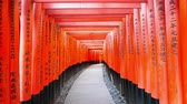 Fushimi Inari Shrines fame torii at Kyoto, Japan Wideo