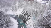 wodospad : Shirahige waterfall in snow winter season Hokkaido Japan