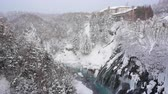 cachoeira : Shirahige waterfall in snow winter season Hokkaido Japan