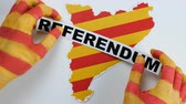 independency : Catalan hands illustrate the referendum in Catalonia