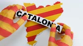 independency : Catalan hands illustrate Catalonia is independent Stock Footage
