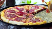 Delicious pepperoni pizza. Italian cuisine Stock Footage