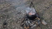 soupon : Meat soup cooking in a cauldron on fire in forest Stock Footage