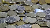 alaşım : A lot of coins and cents rubles. Throwing coins into a common heap. Russian rubles