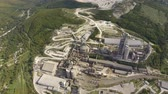 fornada : Verkhnebakansky cement plant, top view. Factory for the production and preparation of building cement. Cement industry. Stock Footage