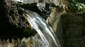cristalino : Mountain wellspring. Close-up of the spout of a mountain fountain with crystalline, pure and bright water.Low angle Vídeos