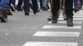 cross the road : Detail of feet across the crosswalk front and back view, on a street in Barcelona.Time Lapse. 01-04 Stock Footage