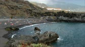Activity in the Beaches of Los Cancajos on the island of La Palma, Canary Islands, to sunny summer day.Tilt-shift effect.Time lapse. Stock Footage