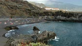 Activity in the Beaches of Los Cancajos on the island of La Palma, Canary Islands, to sunny summer day.