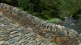 abundante : Close-up of a small stone bridge of Romanic style, in a mountain river on the Pyrenees of Andorra. Stock Footage