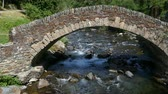 solitário : Front view of a small stone bridge of Romanic style, in a mountain river on the Pyrenees of Andorra.
