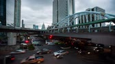 long exposure : Time Lapse Bangkok,Thailand : The traffic at twilight on Sathorn road Stock Footage
