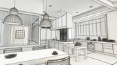переделывать : 3D rendering animation of a modern urban kitchen  in black and white wireframe Стоковые видеозаписи
