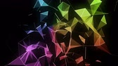 újító : Futuristic video animation with glowing triangles in slow motion.