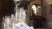 patio : a frozen fountain and an ancient building Stock Footage