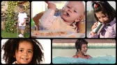 sauce pool : Collection of images of cute and funny kids Stock Footage