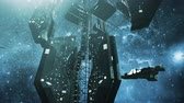 spacecraft : Animated impressive scifi space station and spaceships 4K Stock Footage