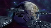 кинозвезды : Animated ufos flying to enlightened earth 4K