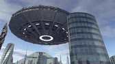 кинозвезды : UFO flying above futuristic city 4K Стоковые видеозаписи