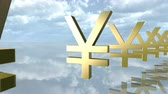 piyango : Animated golden yen money signs in a row. 3D rendering 4K