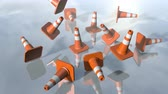 falling down : Animated traffic cone pilons falling down. 3D rendering 4K Stock Footage