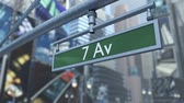 praça : Animated close up of road sign on Times Square New York City Manhattan. 3D rendering