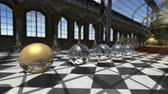 vitoriano : Animated surreal oprganic spheres in victorian steampunk interior. 3D rendering. 4K