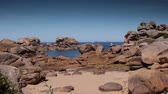 atlantický : Pink granite coastline at Brittany, France