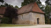 half timbered : Castle Crevecoeur and Auge chapel in Normandy France Stock Footage