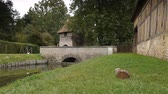 harabeler : Medieval walls at castle Crevecoeur and Auge in Normandy France Stok Video